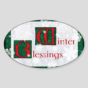 WinterBlessingsGreeting Sticker (Oval)