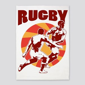 rugby player passing retro style 5'x7'Area Rug