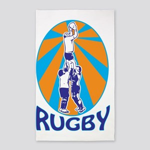 rugby player catching line out  ret 3'x5' Area Rug