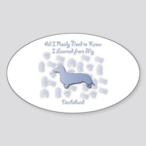 Learned Dachshund Oval Sticker