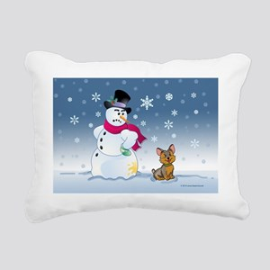 snowmanyorkie card Rectangular Canvas Pillow