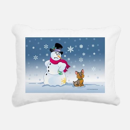 snowmanyorkie card Rectangular Canvas Pillow