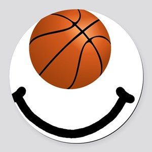 Basketball Smile Black Round Car Magnet