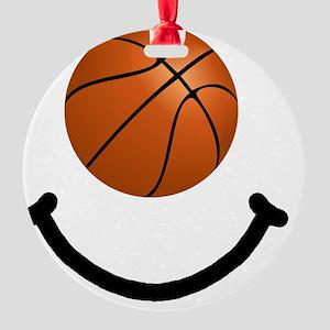 Basketball Smile Black Round Ornament