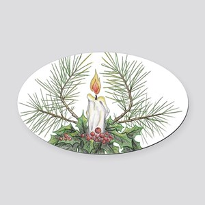Yule Candle clean Oval Car Magnet