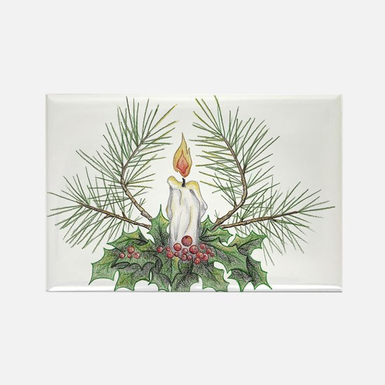 Yule Candle clean Rectangle Magnet