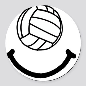 Volleyball Smile Black Round Car Magnet
