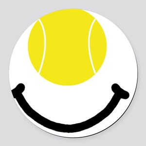 Tennis Smile Black Round Car Magnet