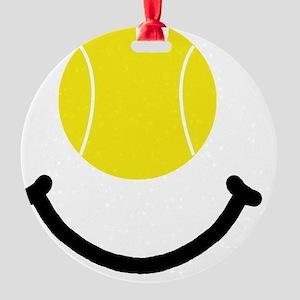 Tennis Smile Black Round Ornament