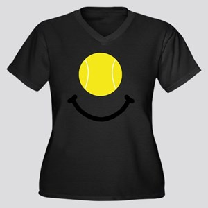 Tennis Smile Women's Plus Size Dark V-Neck T-Shirt