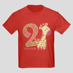 2nd Birthday Giraffe Personalized Kids Dark T-Shir