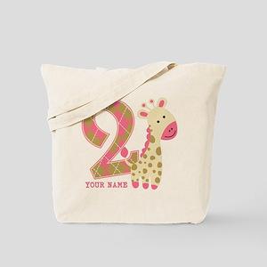 2nd Birthday Giraffe Personalized Tote Bag