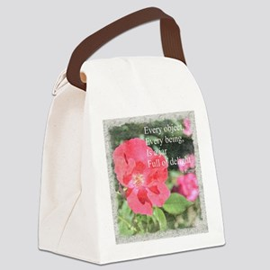 Rumi Quote Painted Rose Canvas Lunch Bag