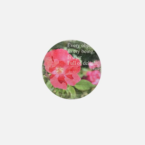 Rumi Quote Painted Rose Mini Button