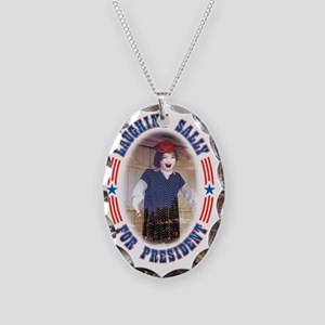 Laughing Sally For President Necklace Oval Charm