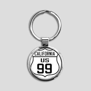 US Route 99 - California Round Keychain