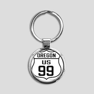 US Route 99 - Oregon Round Keychain