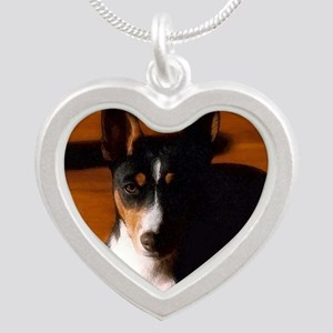 TriBasenjiPortraitDrybrush Silver Heart Necklace