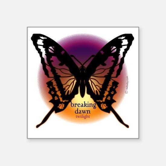 "breaking dawn black butterf Square Sticker 3"" x 3"""