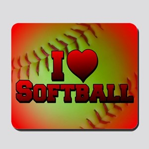yellow_i_love_softball Mousepad
