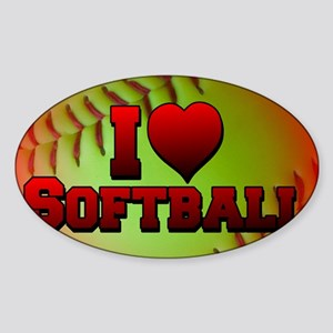 yellow_i_love_softball Sticker (Oval)
