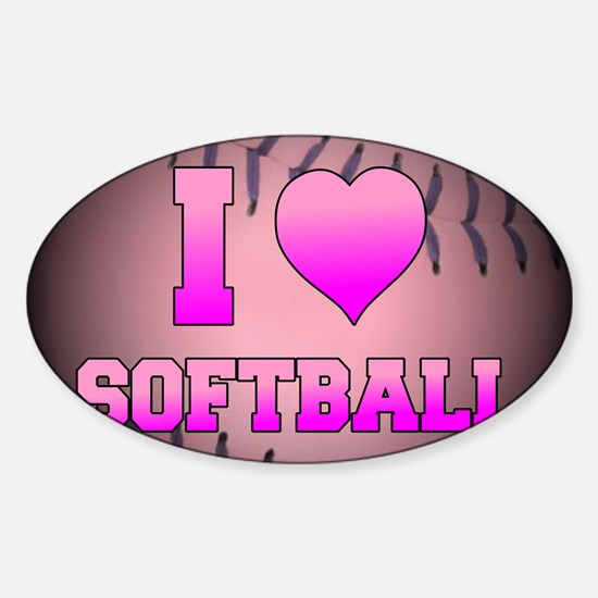 ilovesoftball_pink Sticker (Oval)