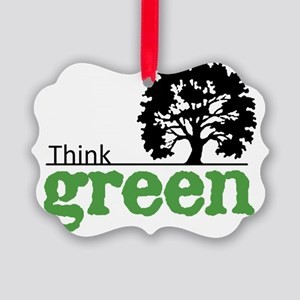 think-green-wht Picture Ornament