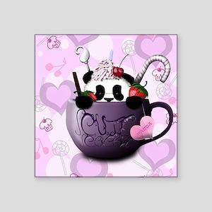 """cute_hot_chocolate_panda_by Square Sticker 3"""" x 3"""""""