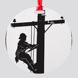 lineman born 1 Round Ornament