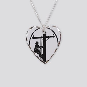 lineman born 1 Necklace Heart Charm