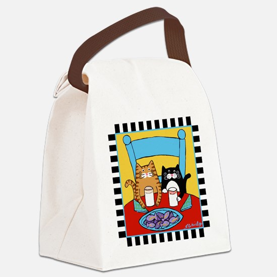 2-cats-lunch Canvas Lunch Bag
