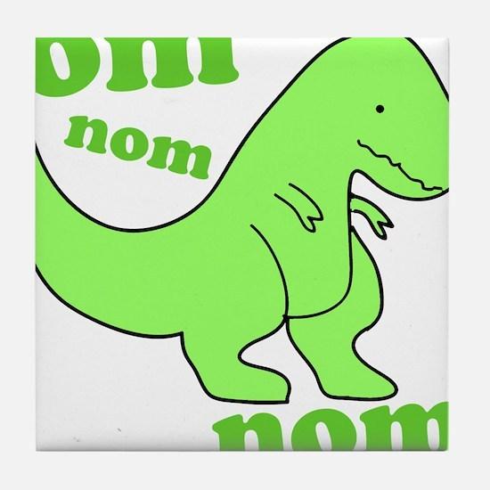dinosaur-green-om-nom Tile Coaster
