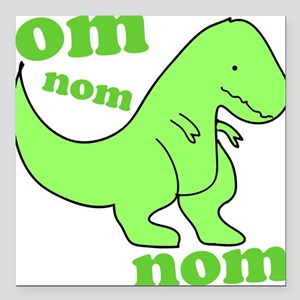 """dinosaur-green-om-nom Square Car Magnet 3"""" x 3"""""""