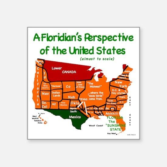 "Floridians USA 1a Square Sticker 3"" x 3"""