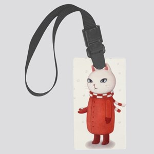 Mimi is Not a Fan of Snow art Large Luggage Tag
