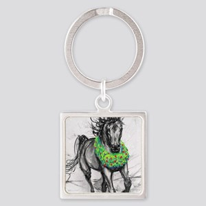Dashing Through The Snow Holiday G Square Keychain