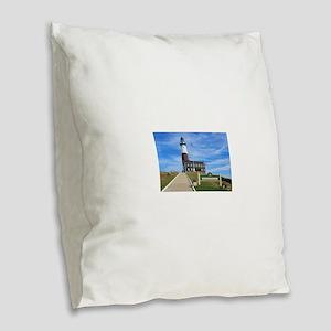 Montauk Lighthouse Burlap Throw Pillow