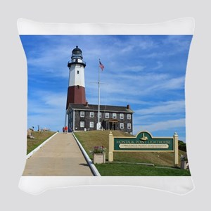 Montauk Lighthouse Woven Throw Pillow