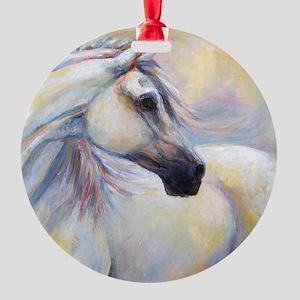 Heavenly Horse art by Janet Ferraro Round Ornament