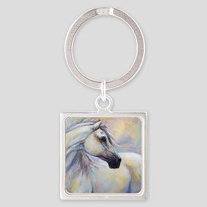 Heavenly Horse art by Janet Ferrar Square Keychain