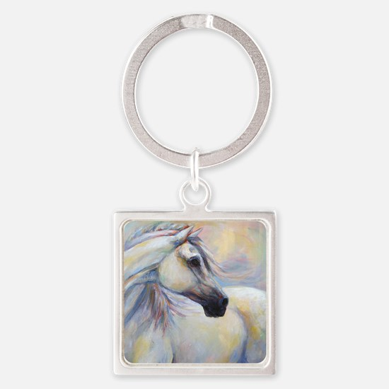 Heavenly Horse art by Janet Ferrar Square Keychain