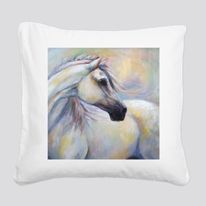 Heavenly Horse art by Janet F Square Canvas Pillow