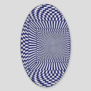 checks_Distorted_BlueGold_flipflip Sticker (Oval)