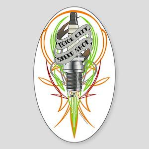 plug stripe on clear Sticker (Oval)