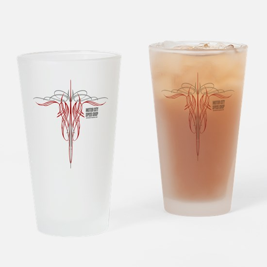 mch speed shop clear2 bck Drinking Glass