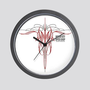 mch speed shop clear2 bck Wall Clock