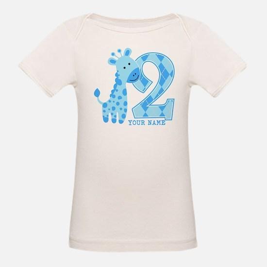 2nd Birthday Blue Giraffe Personalized Tee