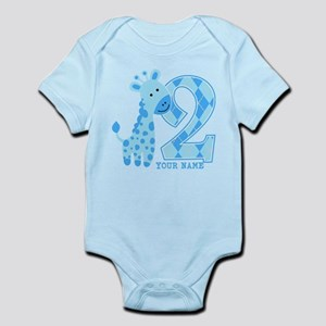 2nd Birthday Blue Giraffe Personalized Infant Body