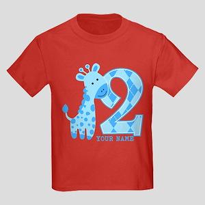 2nd Birthday Blue Giraffe Personalized Kids Dark T