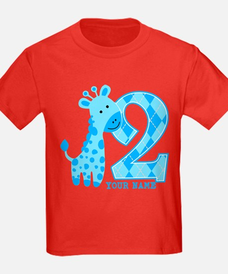 2nd Birthday Blue Giraffe Personalized T